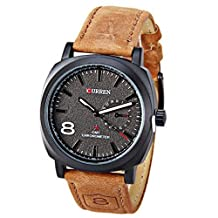 Curren Fashion Brown Leather Band Unisex Watch 1 Arabic Number and Trapezoids Hour Marks Watch