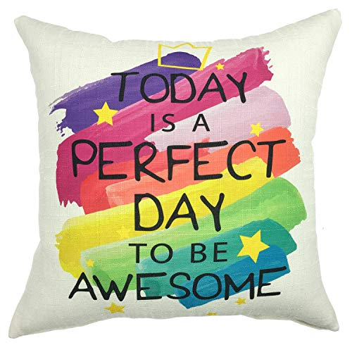 YOUR SMILE Perfect Day Cotton Linen Square Decorative Throw Pillow Case Cushion Cover 18x18 Inch(45CM45CM) - Day Throw Pillow