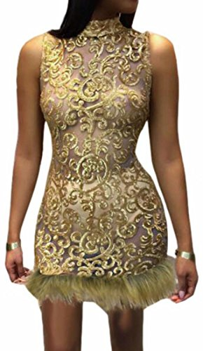Sleeveless Faux Women Sexy Dresses Mini Fur Bodycon Hem golden Jaycargogo Sequin qXHFxwfXt