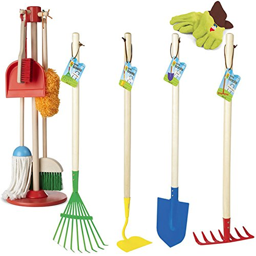 Kids Indoor & Outdoor Cleanup Play Bundle - House Chores & Garden Tools Kit for 3-6 years by Educational Toys Planet