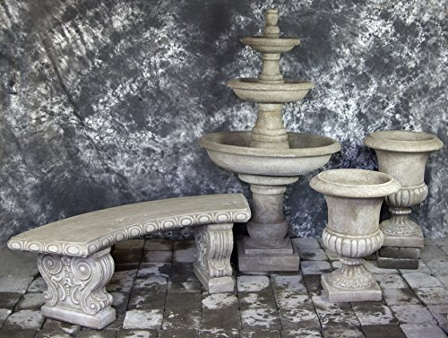 Three Tier Renaissance Fountain with Italian Palazzo Urns Package number 1016 by Fleur de Lis Garden Ornaments LLC