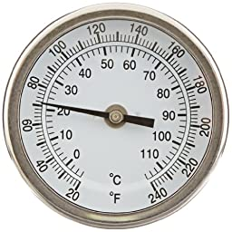 PIC Gauge B3B6-JJ Stainless Steel Bimetal Thermometer with Back Connection, 3\