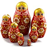 MATRYOSHKA&HANDICRAFT Russian Nesting Dolls - Matrioskas Dolls Daisies on Red Sundress Set 7 pcs