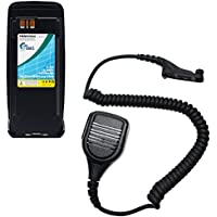 Motorola DGP6150+ Battery & IP55 Shoulder Speaker with Push to Talk (PTT) Microphone Replacement - For Motorola PMNN4066 Two-Way Radio Battery (1800mAh, 7.4V, Lithium-Ion)