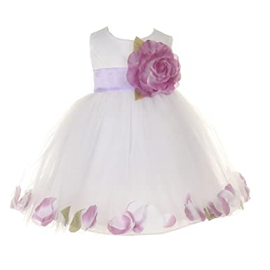 Amazon baby girls white lilac petal adorned satin tulle flower cinderella couture baby girls white lilac petal adorned satin tulle flower girl dress 6m mightylinksfo