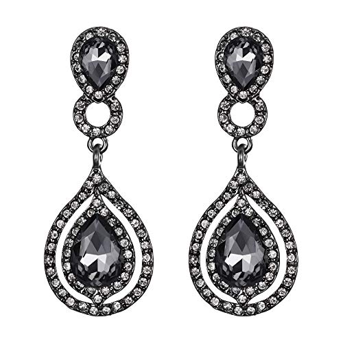 BriLove Wedding Bridal Dangle Earrings for Women Crystal Teardrop Infinity Chandelier Earrings Grey Black-Silver-Tone
