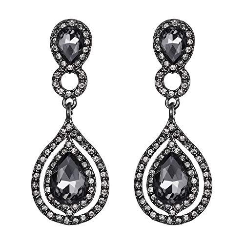 Grey Teardrop Earrings - BriLove Wedding Bridal Dangle Earrings for Women Crystal Teardrop Infinity Chandelier Earrings Grey Black-Silver-Tone