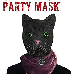 Monstleo Latex Rubber Black Cat Animal Head Mask Halloween Party Costume Decorations