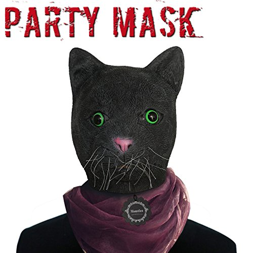 [Monstleo Latex Rubber Black Cat Animal Head Mask Halloween Party Costume Decorations] (Animal Halloween Costumes Men)