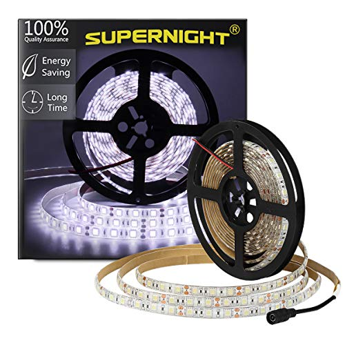SUPERNIGHT LED Strip Lights, 16.4FT SMD 5050 Cool White Rope Light, Waterproof Lighting