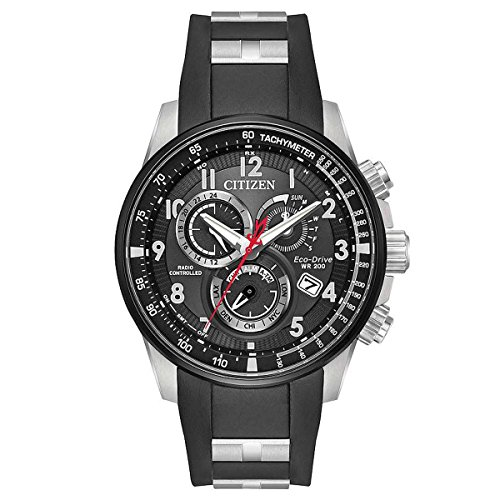 Citizen Black Dial Stainless Steel & Polyurethane Strap Men's Watch AT4138-05E