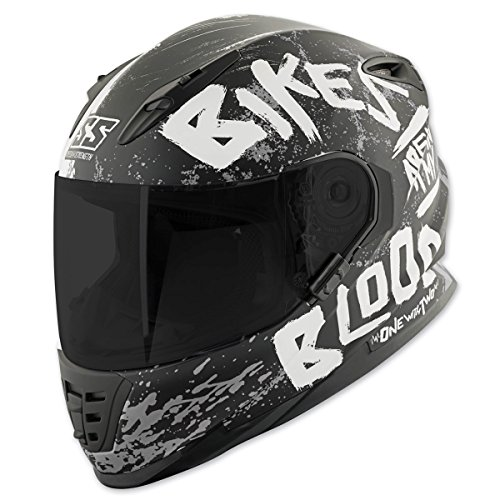 Speed and Strength Unisex Adult SS1310 Bikes are in My Blood Matte Black/White Full Face Helmet 884373