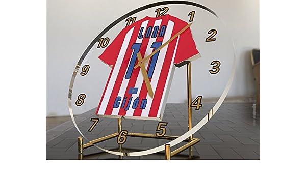 Reloj de sobremesa, diseño de camiseta de fútbol de La Liga española, hombre, Sporting Gijon: Amazon.es: Deportes y aire libre