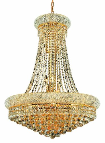 (Elegant Lighting 1800D28G/SS Primo Collection 14-Light Hanging Fixture Swarovski Strass/Elements Crystals with Gold Finish)