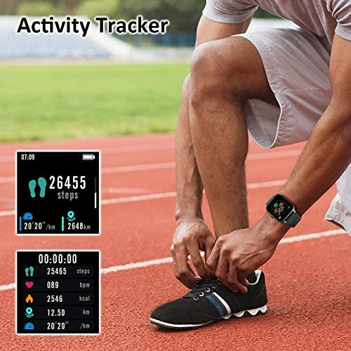 IOWODO R3Pro Smart Watches for Men Fitness Tracker Watch - Sport Watch 1.54 HD Screen Activity Tracker Step Counter for Walking Mens Sport Watch 5ATM Waterproof Smart Watch for Android Phones Black 3