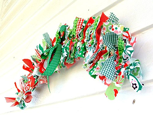 Rustic Christmas red and green decor for the holiday home ~ fabric rag doorway swag