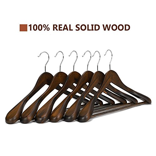 JS HANGER Solid Wooden Extra-Wide Shoulder Suit/Coat Hangers, Retro Finish, 6-Pack