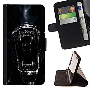 DEVIL CASE - FOR Sony Xperia Z3 D6603 - Alien Face Close Up - Style PU Leather Case Wallet Flip Stand Flap Closure Cover