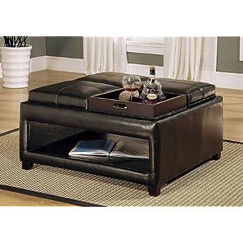 Amazon Com Brown Storage Ottoman Coffee Table W 4 Flip