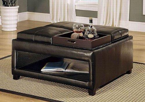 Amazon.com: Brown Storage Ottoman Coffee Table W/ 4 Flip Trays: Kitchen U0026  Dining