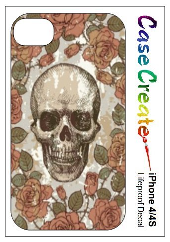 Vintage Floral Skull Decorative Sticker Decal for your iPhone 4 4S Lifeproof Case