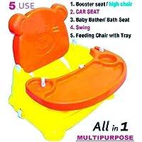 Toyboy Honey Bee 5-in-1 Plastic Baby Booster Seat Cum Swing (Orange)
