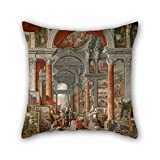 artistdecor oil painting Giovanni Paolo Pannini - Picture Gallery with Views of Modern Rome pillow cases 18 x 18 inches / 45 by 45 cm for lover,sofa,outdoor,teens girls,seat,kids room with twice si