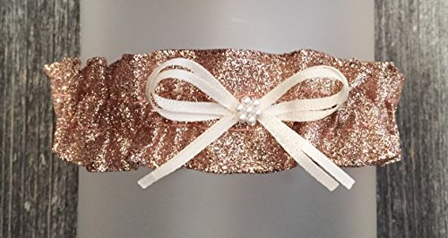 Sexy Rose Gold Glitter Sparkle Ivory Satin Pearl Keepsake Bridal Wedding Garter ()