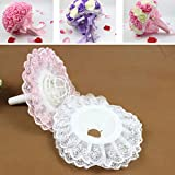Sukisuki 2pcs Bridal Wedding Bouquet Flower Handle Holder Lace Edge Collar Decor (White)