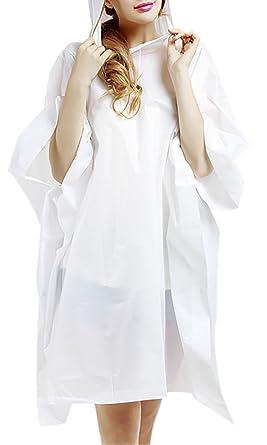 457c912a9c6 ChezAbbey Women s Lightweight PVC Transparent Cloak Raincoat Hooded  Raincape White