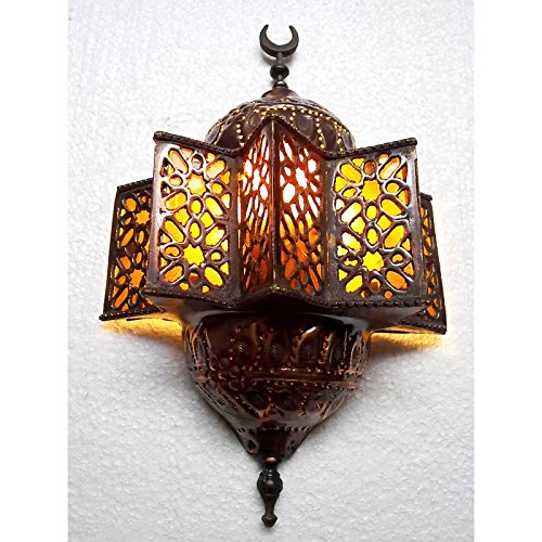 Antique Islamic Style Brass Wall Sconce AMBER GLASS