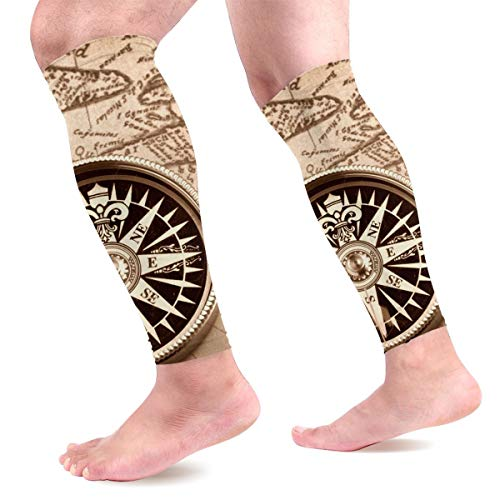 Light Venus World Map Compass Sport Calf Compression Sleeve for Shin Splint, Calf Pain Relief, Varicose Veins - Leg Compression Sleeves Socks for Men & Women