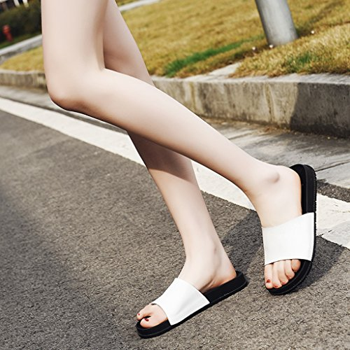 Shoes Heel Color 37 Sandals Bottom Summer Leisure White ZCJB White Flat Thick Leather Outdoor Size Women's HPHYpwvq