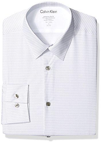 Calvin Klein Men's Dress Shirts Xtreme Slim Fit Print Thermal Stretch, Gray Pearl, 15
