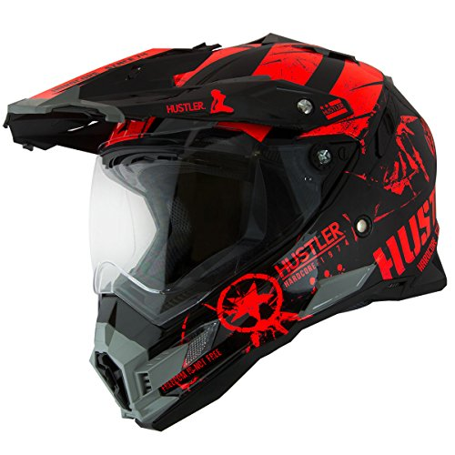 Hustler Hardcore Since 1974 Dual Sport Red And Black Gloss Motorcycle Helmet - X-Large by Hustler (Image #5)