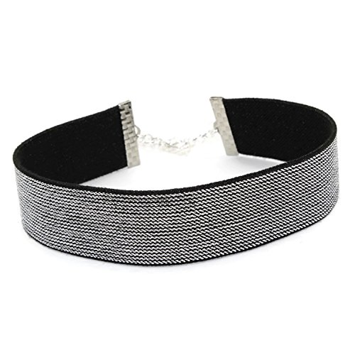 [Arthlin Metallic Choker in Silver or Gold, Glamorous and Sparkly, Elastic Necklace, Made in USA] (Fashion Bloggers Halloween Costumes)