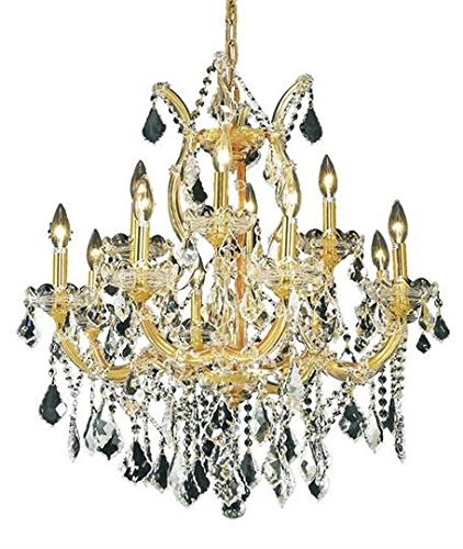 Karla Gold Traditional 13-Light Hanging Chandelier Swarovski Spectra crystal in Crystal (Clear)-2380D27G-SA--27