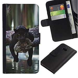Be Good Phone Accessory // Caso del tirón Billetera de Cuero Titular de la tarjeta Carcasa Funda de Protección para HTC One M8 // panther lazy sleepy cute big cat Africa