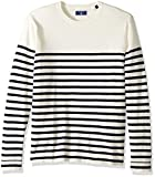 GANT Men's Cotton Stripe Crewneck Sweater, Eggshell, XL