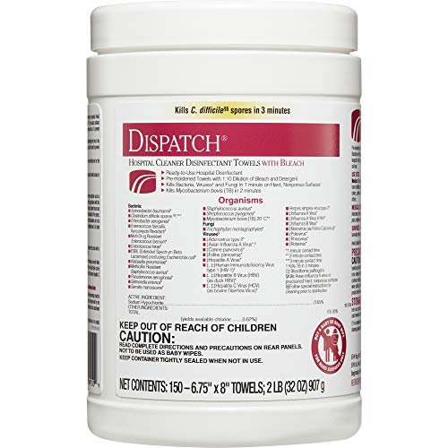 Dispatch Hospital Cleaner Disinfectant Towels with Bleach, 150 Count ()