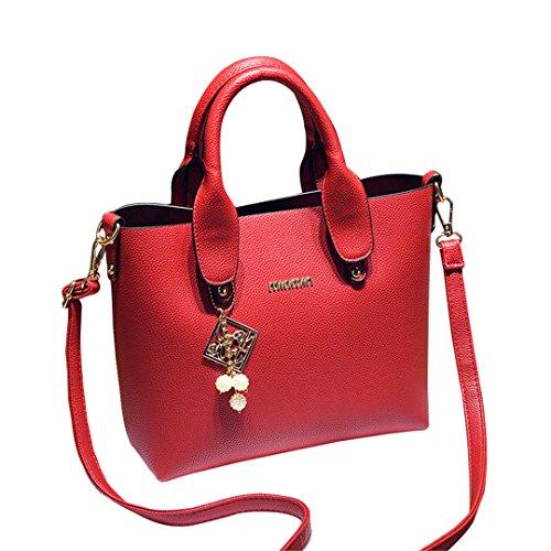 Wewod Woman Casual Leather Bag Red Messenger Bag Totes Shoulder Bag 28 X 22.5 X 12 Cm (l * W * H)