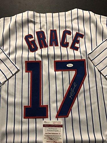 Autographed/Signed Mark Grace Chicago Cubs Pinstripe Baseball Jersey JSA COA