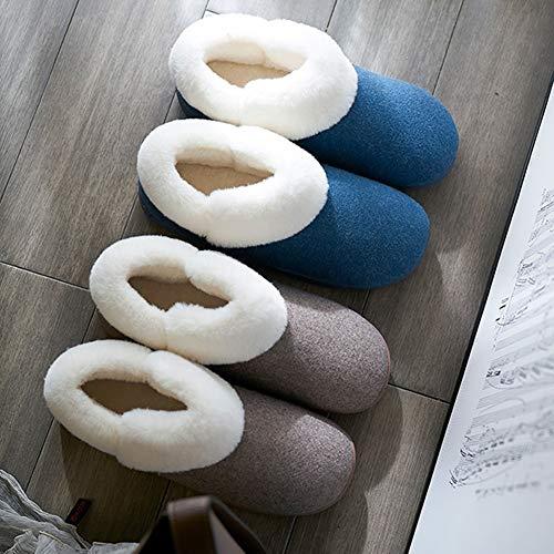 Lanugine Caldo Dimensioni Pantofole Morbido Seta Circondare Brown Fondo Di Tenere Tingting 44 Colore Tutto Compreso Ciabatte Coppia colore 45 Solido Antiscivolo Cotone Al Spesso Blu n181O4