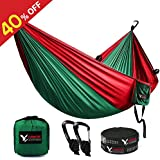 """KAMOTA Camping Hammock, Outfitters Lightweight Nylon Portable Hammock Parachute Double Hammock For Backpacking Camping Travel Beach Yard 118""""(L) x 78""""(W)"""