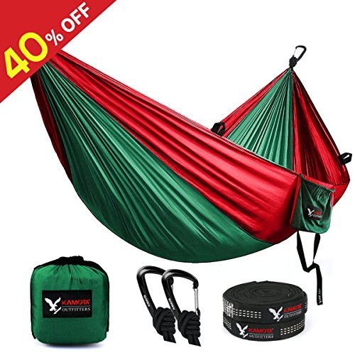 KAMOTA Camping Hammock, Outfitters Lightweight Nylon Portable Hammock Parachute Double Hammock For Backpacking Camping Travel Beach Yard 118''(L) x 78''(W) by KAMOTA