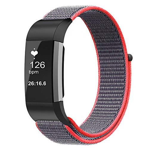 Fintie Band for Fitbit Charge 2, Nylon Sport Loop Breathable Nylon Replacement Strap Wrist Bands with Adjustable Closure for Fitbit Charge 2 HR Smart Fitness Tracker, Electric Pink