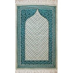 Islamic Prayer Rug Janamaz Velvet Muslim Namaz Sajjadah Carpet Turkish Mat Polka Dot Floral White Turquoise
