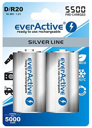 4 x everActive Silverline MONO min. 5000 mAh Akku D Mono Zelle LR20 MN1300 NIMH