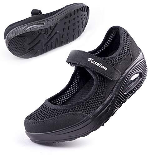 Women's Comfortable Working Nurse Shoes Non-Slip Adjustable Breathable Walking Sneaker Fitness Casual Nursing Shape Shoes Mary Jane Sneaker41 Black