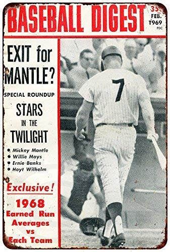 DYTrade Metal Sign- 12 x 16 Inches Custom Kraze Mickey Mantle Baseball Digest 1969 Vintage Reproduction (Billiard Digest)